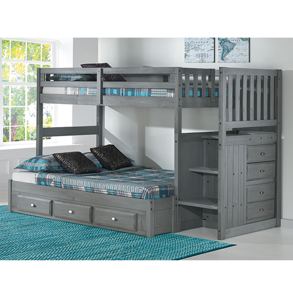 Charcoal Twin Full Staircase Bunkbed Frame Generations