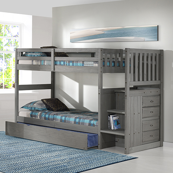 Charcoal Twin/Twin Staircase Bunkbed Frame