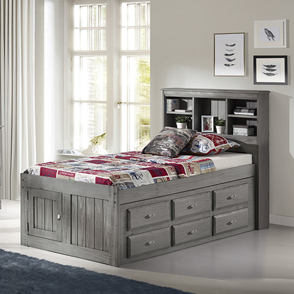 Charcoal Twin Bookcase Captains Bed Frame