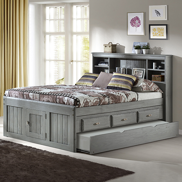 Charcoal Full Bookcase Captains Bed Frame