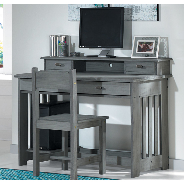 Charcoal Desk w/ Mini Hutch